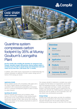 Quantima system compresses carbon footprint by 35 at Murray Goulburns Leongatha Plant