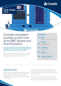 CompAir compressor provides on-the-move air for BBC Studios and Post Production