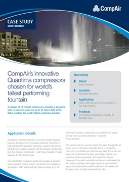 CompAir innovative Quantima compressors chosen for world tallest performing fountain