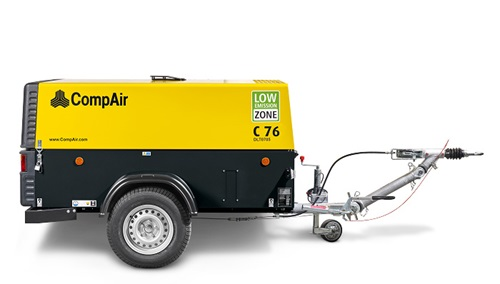 medium sized portable air compressor C76 with tow bar side image