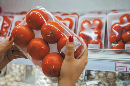 Vacuum packed tomatoes in a super market