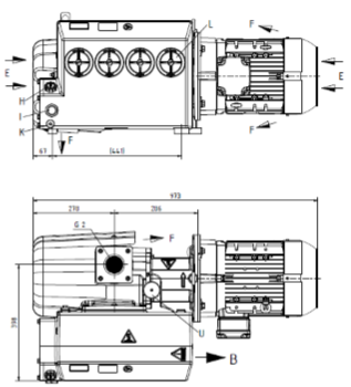 Line drawing of VCS Rotary Vane Vacuum Pump