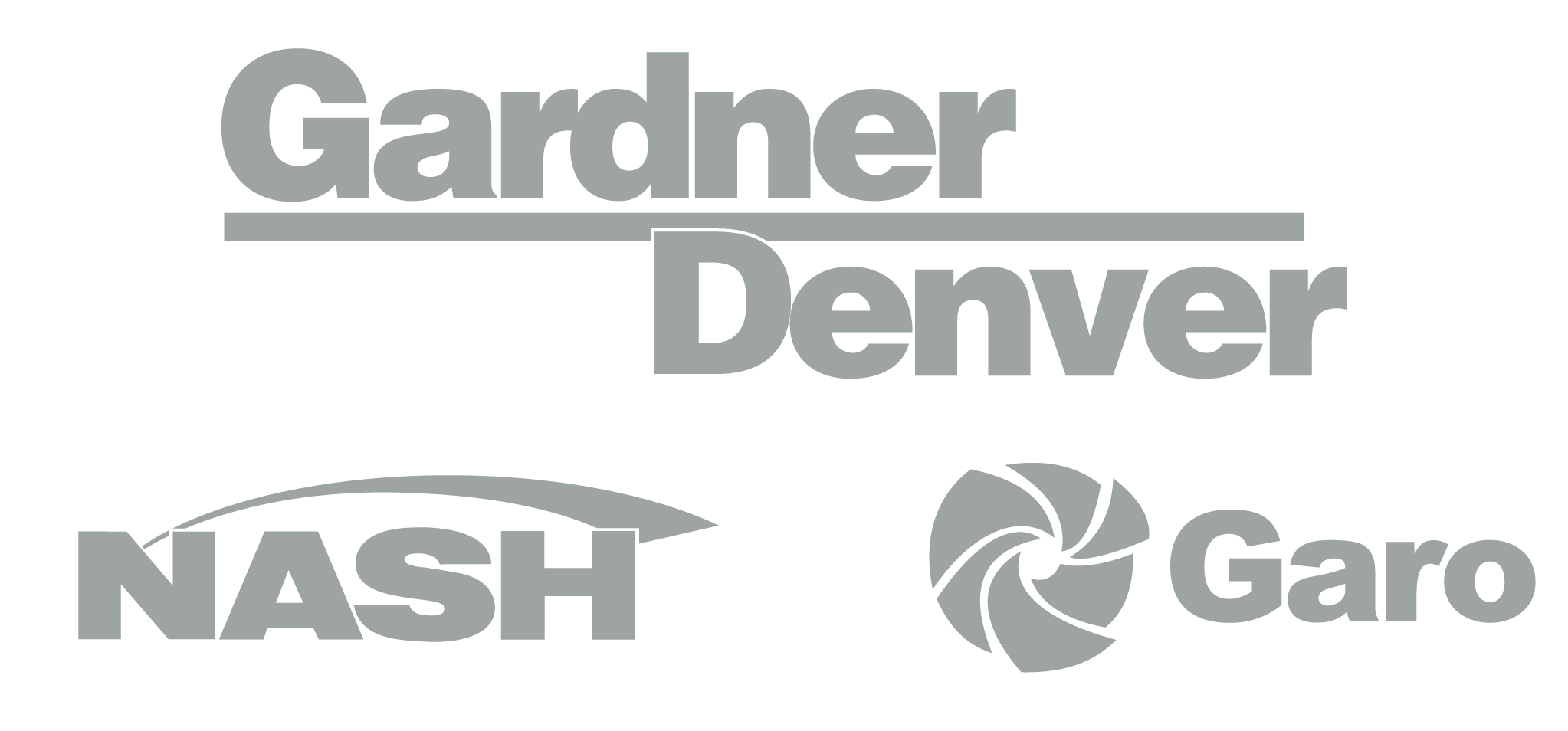 Gardner Denver, Nash, Garo logos in Light Gray