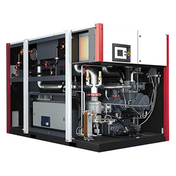 Oil-Free Rotary Screw Compressor - EnviroAire T Opened Front and Right Side View