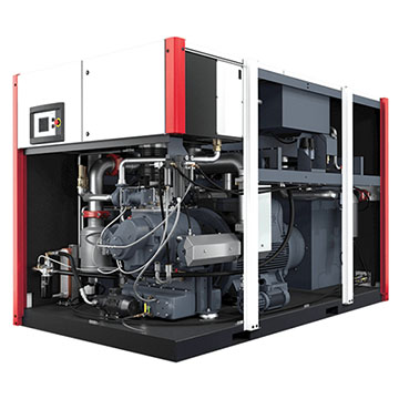 Rotary Screw Oil Free Compressor - EnviroAire T Opened Left and Front View