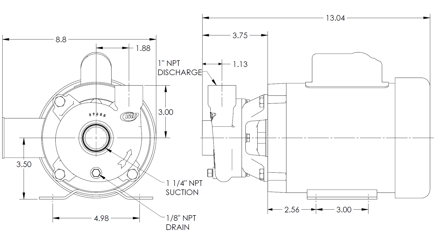 SWX125 Bronze Marine Pump Drawing