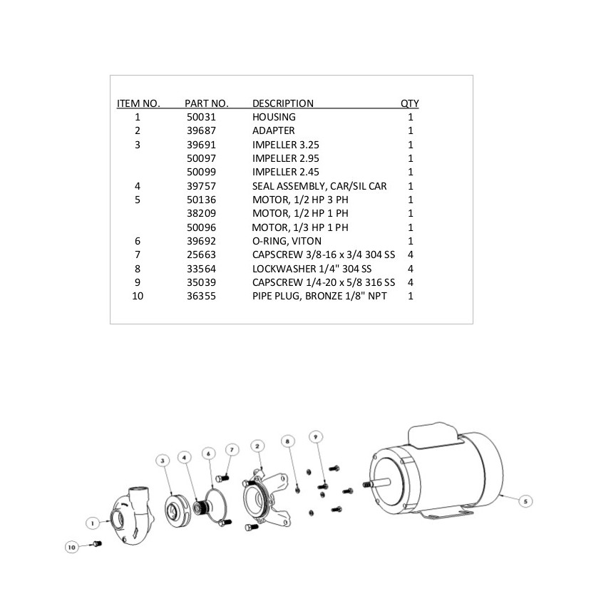 SWX125 Bronze Marine Pump Parts List