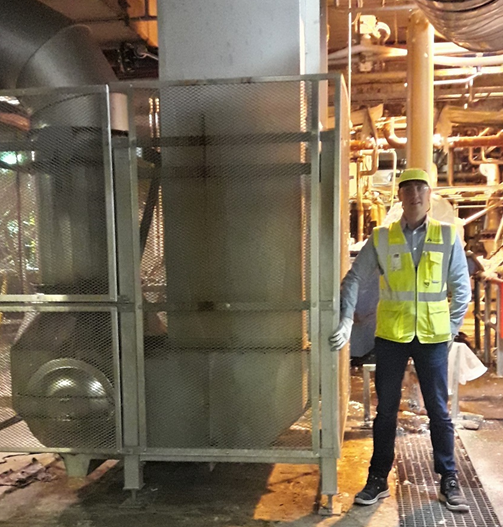 Janne Auvinen, Maintenance Manager, Ahlstrom-Munksjö, Karhula, next to Runtech-supplied heat recovery