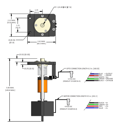 TriContinent LT Syringe Pump Interface and Dimension details